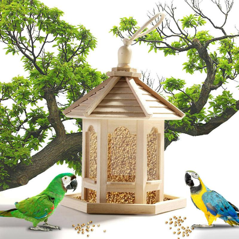 wooden bird feeder hanging hexagon shaped