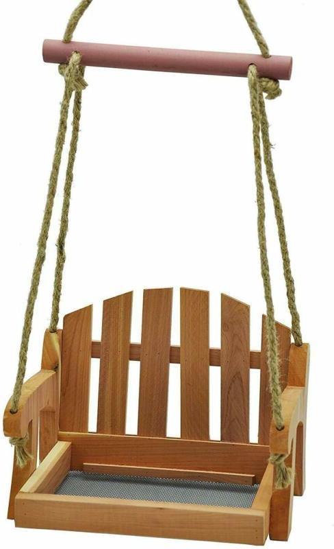 Gardirect Wooden Swing Seat Bird Feeder, Tray Feeder