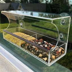 Large Acrylic Window Bird Feeder with Removable Tray Suction