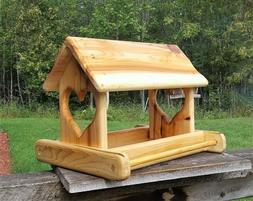 Large Cedar Wood Fly Through Platform Bird or Squirrel Feede