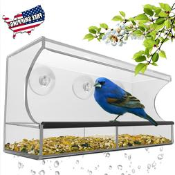 Large WINDOW BIRD FEEDER Clear Thick Acrylic Mount Suction C
