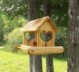 Large Hanging Cedar Wood Fly Through Platform Bird or Squirr