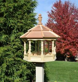 Large  Gazebo Bird Feeder Wood Amish Homemade Handcrafted Tr