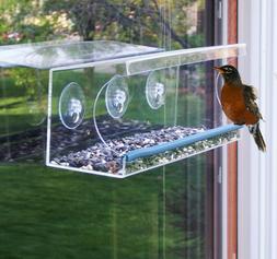 long acrylic window bird feeder w perch