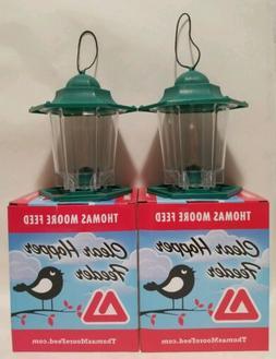 LOT  Green/Clear Hanging Plastic Hopper Bird Feeder Seed - T