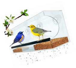 LOVATIC Flock to Me Clear Bird Feeder with Lifetime Replacem