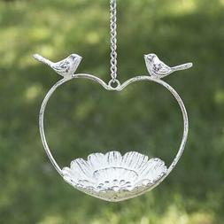 Love Bird Feeder Heart Shaped Hanging Dish Cast Iron With Ch