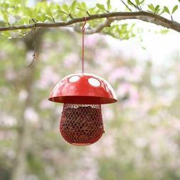 Mesh Wild Bird Feeder Hanging Metal Mushroom Red Seed Ball F