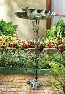 Metal Stand Alone Bird Bath Seed Feeder Ivy Vine Pole Outdoo