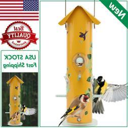 KINGSYARD Metal Tube Bird Feeder Squirrel Proof Lightweight