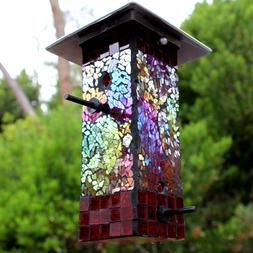 Mosaic Stained Glass Bird Feeder Large Capacity BRAND NEW Ya