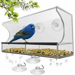 Nature's Hangout Window Bird Feeder with Removable Tray, Dra