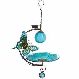 NEW Butterfly Solar Bird Feeder - Sculpted Metal Butterfly &