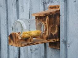 New Rustic Wooden Glass Jar Squirrel Chipmunk Bird Feeder Fr