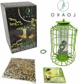 Outdoor Caged Tube Bird Feeder + Food Seed Mix, Squirrel Det
