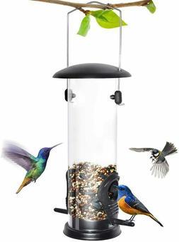 Outdoor Garden Tube Bird Feeder with 6 Feeding Ports, Hard P