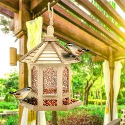 Outdoor Hanging-Wooden Squirrel Proof Seed Feeder For Wild B
