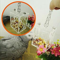 Parrot Bird Cage Feeder Hanging Acrylic Foraging Toy Pet Tre