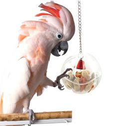 Parrots Ball Toys Food Feeder Hanging Cage Birds Bell Foragi