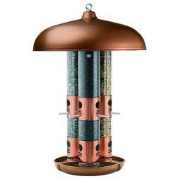 Perky-Pet 7103-2 Copper Finish Triple Tube Bird Feeder beige