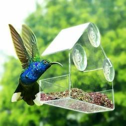 Pet Bird Acrylic Feeder Window with Strong Suction Cup Birdh
