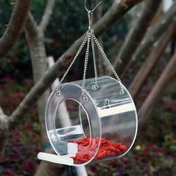 Pet Bird Feeder Acrylic Clear Food Round Box Hanging Feeding