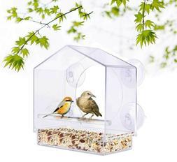 Pet Bird Feeder Acrylic Window with Strong Suction Cup Birdh