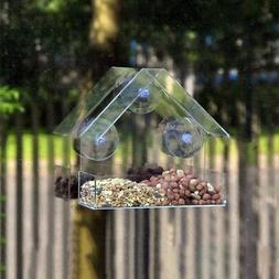 Pet Bird Feeder Acrylic Window w/ Strong Suction Cup Birdhou