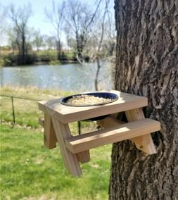 Picnic Table Squirrel and Bird Feeder, Cedar Rot Resistant W