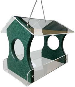 JCs Wildlife Recycled Poly Lumber Hanging Birdfeeder, Green,