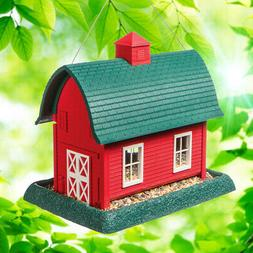 Red Barn Bird Feeder Seed House Plastic Hanging Pole Mount W