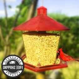 Red/Clear Plastic Hopper Bird Feeder Garden Treasures Seed F