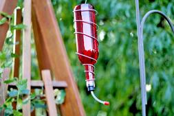 Red Glass Wine Bottle Hummingbird Feeder, Bird Feeder, Gift