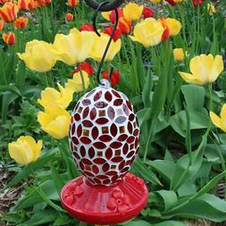 Sunnydaze Decor Red Mosaic Glass Flower Hummingbird Feeder,