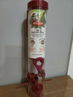 Perky Pet Red Sierra 2 In 1 Seed Birdfeeder