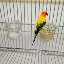 Round Clear Parrot Food Water Bowl Feeder Bird Pigeons Cage