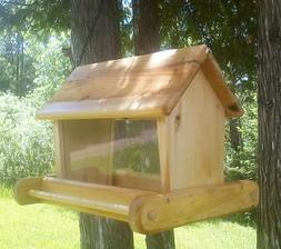 Rustic cute large handmade hanging, cedar wood, square bird