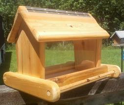 Rustic, large, handmade, cedar wood, square post mount bird