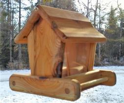 Rustic, small handmade, cedar wood, square, hanging bird fee