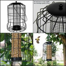 SAND MINE Squirrel Proof Wild Bird Feeder, Caged Tube Feeder