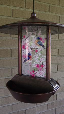 SOLAR BLUEBIRD GLASS BIRD FEEDER BY EVERGREEN-NIB