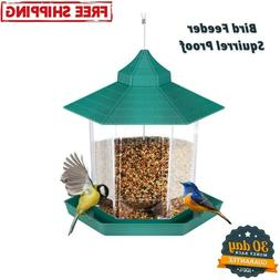 Squirrel Proof Bird Feeder Hanging Cage Seed Food Outdoor Sm
