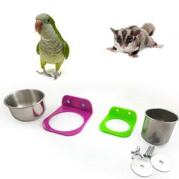Stainless Steel Food Water Feeding Bowl Cup Bird Parrot Feed