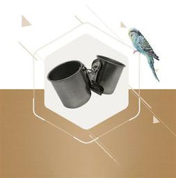 Stainless Steel Pet Bird Feeder Cup Hanging Cage Bowl Coop P