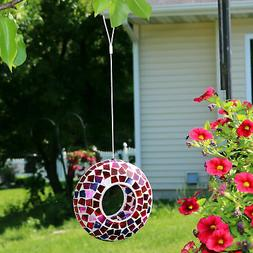 Sunnydaze Outdoor Hanging Bird Feeder Crimson Mosaic Fly-Thr