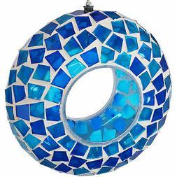 Sunnydaze Outdoor Hanging Bird Feeder Blue Mosaic Fly-Throug