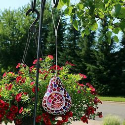 Sunnydaze Ruby Mosaic Decorative Glass Outdoor Hanging Bird