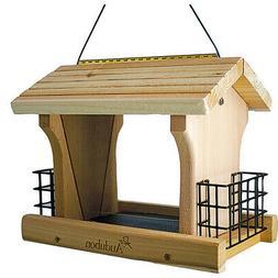 Audubon Woodlink Tan Cedar Wood Ranch Style Bird Feeder W/su