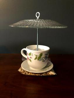 Handmade Tea Cup Bird Feeder Art 100% for Animal Charity