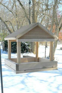 Handcrafted Tray Bird Feeder, Large Wood Platform Feeders, H